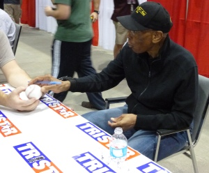 Ernie just having signed my baseball.