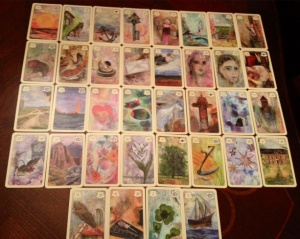 An example of the Grand Tableau using Britta's Lenormand, copyright Britta Kienle.