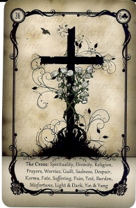 The Cross, from the Under the Roses Lenormand, copyright Kendra Hurteau & Katrina Hill, 2012.
