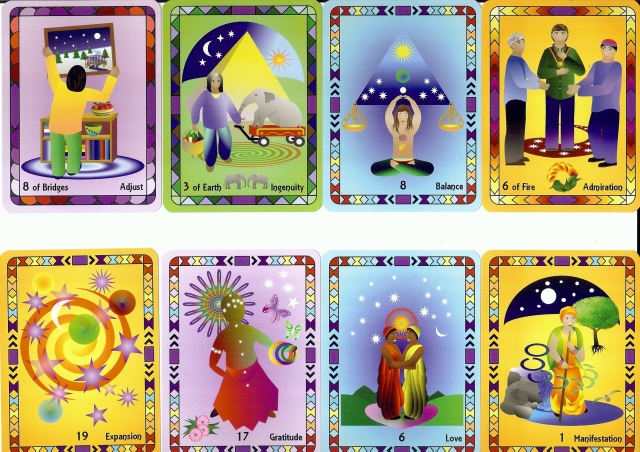Various cards from The Radiant Wisdom Tarot.