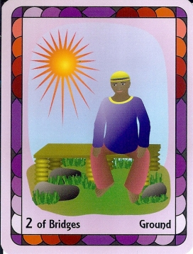 2 of Bridges, from The Radiant Wisdom Tarot.