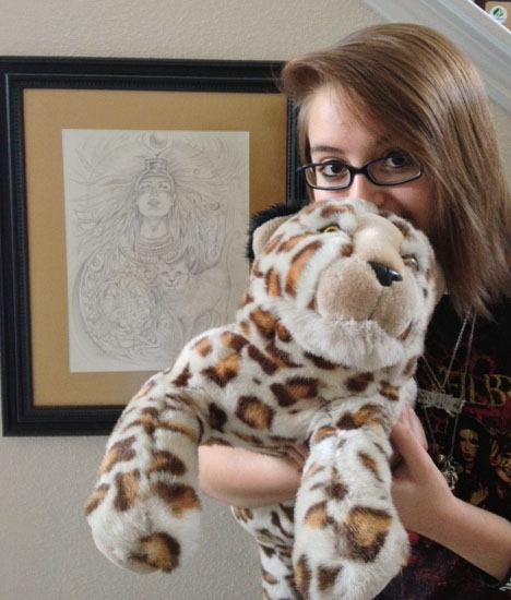 Ariel & her jaguar next to my Soul Drawing by Lisa Hunt.