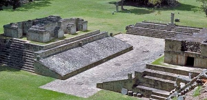 The ball court at the Classic Maya site of Copan.
