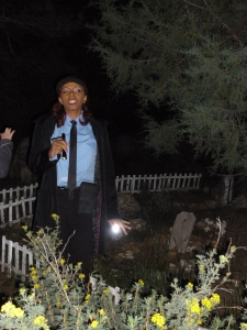 LaToya, our tour guide in the Pet Cemetery at the Stanley Hotel.