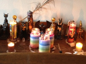 My Working Altar: the 3 rainbow candles in the center are Chakra 7 Wishes Power Candles.