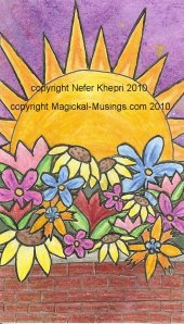 The Sun card, from the forthcoming Magickal Musings Tarot. (C) Nefer Khepri