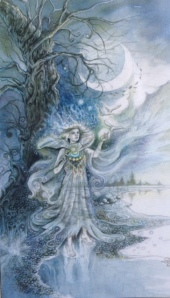Queen of Wands, from the Ghosts & Spirits Tarot, copyright Lisa Hunt & US Games, Inc., 2011.