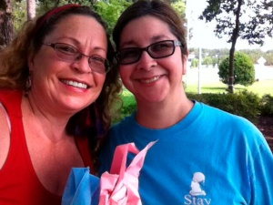 Rosemarie & I after tying memorial ribbons around trees.