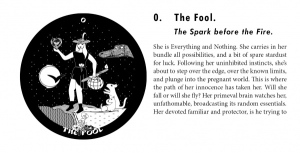 The Fool page from The Gorgon's Tarot guidebook.