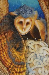 Celtic Owl, The Chrysalis Tarot, copyright Holly Sierra & US Games Inc, 2014.