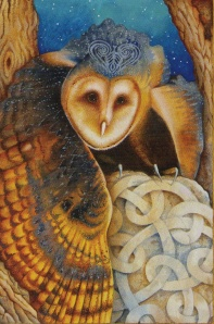 Celtic Owl, The Chrysalis Tarot, copyright Holly Sierra & US Games Inc, 2014.
