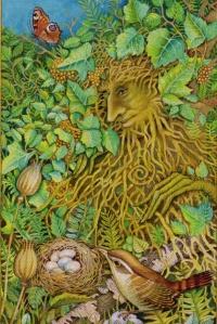 Green Man from The Chrysalis Tarot. Copyright Holly Sierra & US Games Inc 2014.