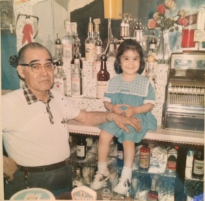 Me hanging out in my Grandpa's bar at the age of 3 with my grandpa.