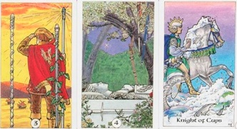 The 3 of Wands, 4 of Swords & Knight of Cups from The Robin Wood Tarot.