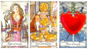 The 8 of Swords, 4 of Pentacles & 3 of Swords from The Hanson-Roberts Tarot.