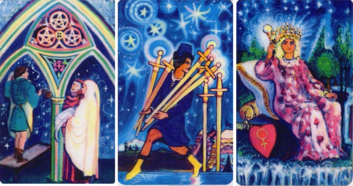 """The 3 of Pentacles, 7 of Swords & Empress from """"The Starlight Illuminated Tarot"""" by Carol Herzer."""