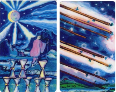 "The 8 of Cups & 8 of Wands from ""The Starlight Illuminated Tarot"" by Carol Herzer."