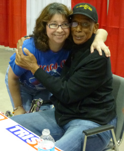 Legend and Hall of Famer Ernie Banks and me.  2013. Reliant Stadium, Houston, TX.