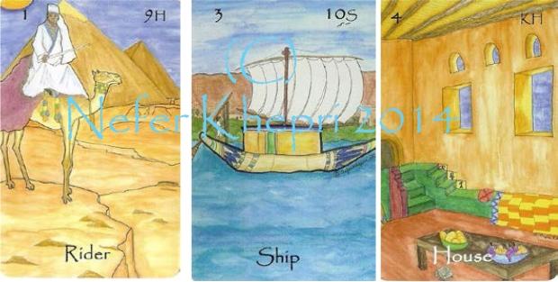 """The Rider, Ship & House cards from """"The Egyptian Lenormand"""" (C) Nefer Khepri, 2014."""