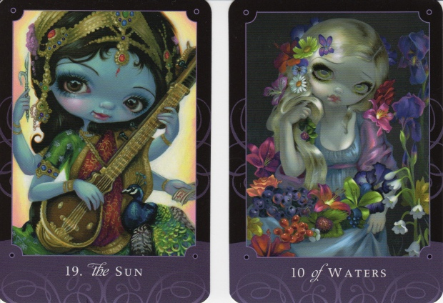 The Sun & 10 of Waters from The Beautiful Creatures Tarot, Schiffer Books 2015.