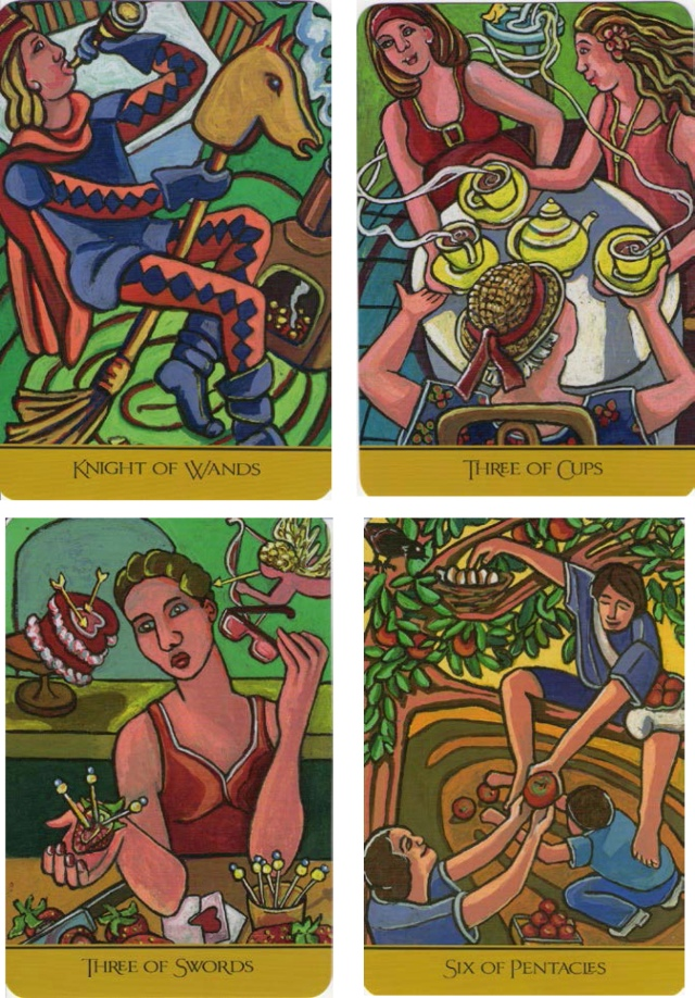 The Knight of Wands, 3 of Cups, 3 of Swords & 6 of Pentacles from