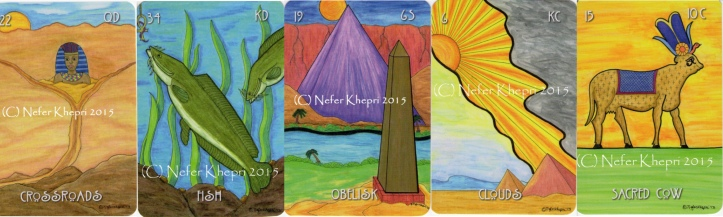 """The Crossroads, Fish, Obelisk, Clouds & Sacred Cow cards from """"The Egyptian Lenormand"""" copyright Nefer Khepri 2012, 2015, & Schiffer Books 2015; published by Schiffer Books, 2015)."""