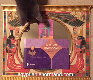 """My cat checking out The Cat card of my """"Egyptian Lenormand"""" (Schiffer Books, 2015)."""