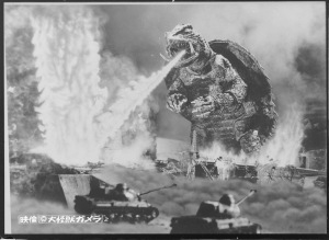 "Gamera, from the original B&W film, ""Gamera"" (1965) taking out the Japanese military in fine turtle-y fashion."