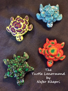 "Turtle Friends. Polymer clay turtles created by Susan Keen Krontz exclusively for ""The Turtle Lenormand"" by Nefer Khepri (2015, self-published)."