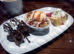 Same photo of the dessert sampler, auto-adjusted.
