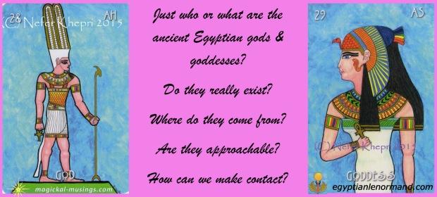 """The God & Goddess cards from """"The Egyptian Lenormand"""" copyright Nefer Khepri & Schiffer Books, 2015"""