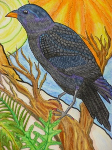 The Raven of Intuition - a detail of a commissioned Soul Portrait. They are available at magickal-musings.com. Image copyright Nefer Khepri 2011.