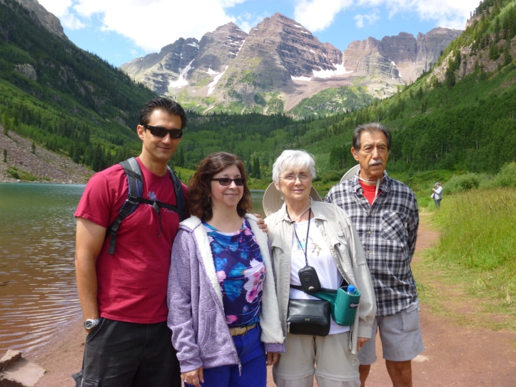 My uncle Gilbert, his wife Myra & my cousin Damon & I at the Maroon Bells, Colorado. 2015.