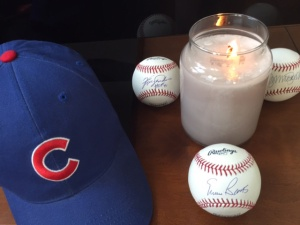 My Cubs cap along with signed baseballs from Ferguson Jenkins, Ryne Sandberg & my hero, Ernie Banks up front & center.