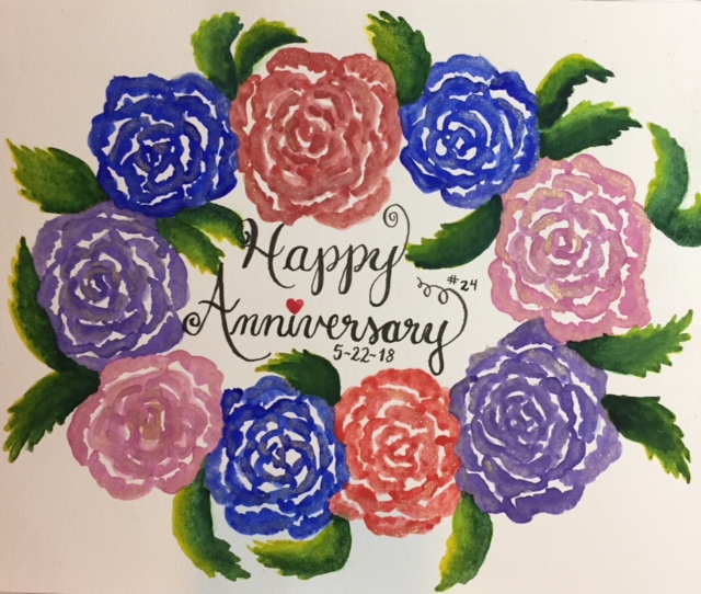 I created this watercolor painting using the handmade organic watercolor paints of Artistic Isle for the roses (their shop is on Etsy) & the greens of the Woodlands palette by Prima Watercolors for the leaves. I did the lettering with a Pental Fude Sign Touch Pen. I am open for commissions. Email for pricing, which is based on size & time involved in creating the piece.