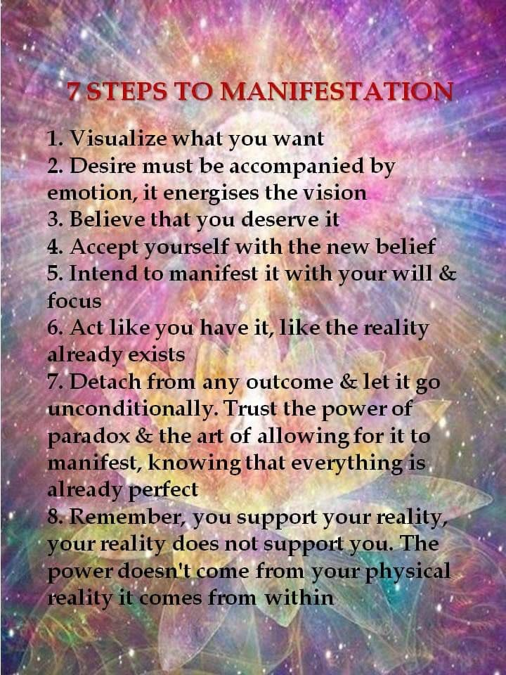 7 Steps to Manifestation. For Spells (Enchantments), Card Readings & Visionary Art visit Magickal-Musings.com