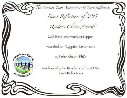 American Tarot Association & Tarot Reflections Best Lenormand Deck of 2015: The Egyptian Lenormand by Nefer Khepri, PhD.