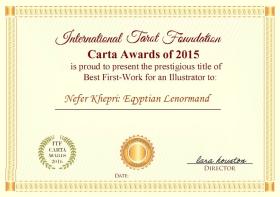 International Tarot Foundation Carta Awards of 2015 Best First Work for an Illustrator: Nefer Khepri: Egyptian Lenormand