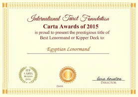 International Tarot Foundation Carta Awards of 2015 Best Lenormand Deck: The Egyptian Lenormand by Dr. Nefer Khepri