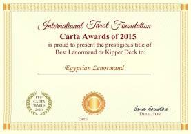 International Tarot Foundation Carta Awards of 2015 Best Lenormand Deck: The Egyptian Lenormand by Dr. Nefer Khepri